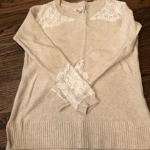 Cream and White Lace Sweater